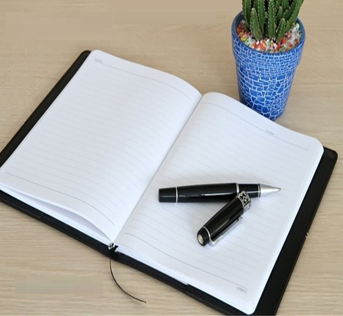 Deli 25K Business Notebook 114 Sheets with Faux Leather Cover