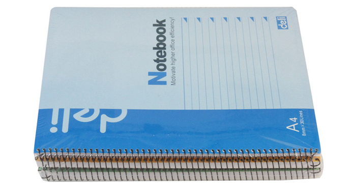 Deli A4 Spiral Soft Notebook School Stationery