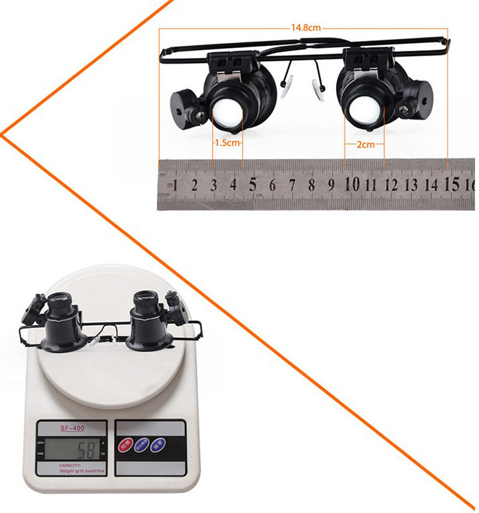 BIJIA 20X Eyeglasses Type Magnifying Glasses with 2 LED Lights