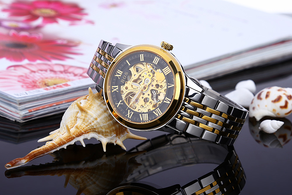 BOS 9013 Hollow-out Dial Automatic Mechanical Movt Watch for Men