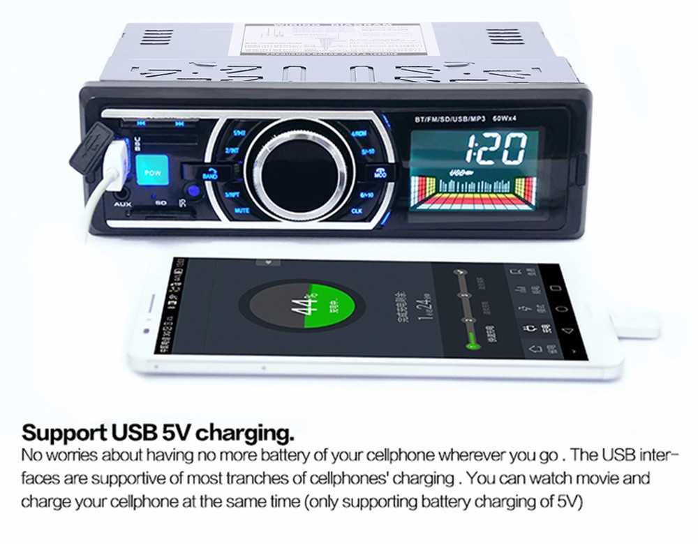 12V Car Stereo In-Dash FM Radio MP3 Audio Player Support Bluetooth 3.0 with USB SD AUX Port
