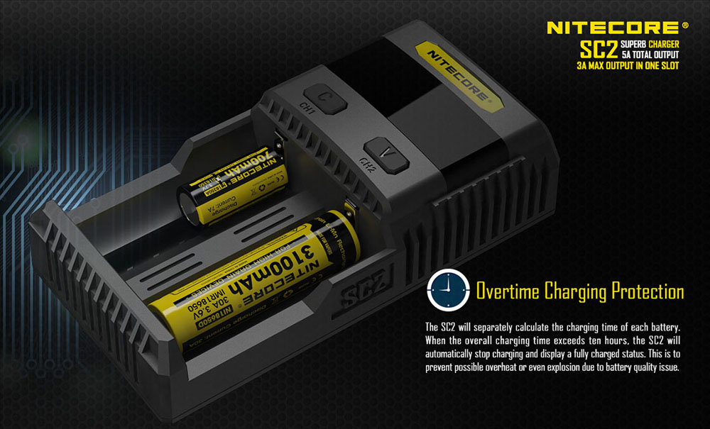 Nitecore SC2 3A Quick Charge Digi Charger LCD Screen 2.1A USB Output