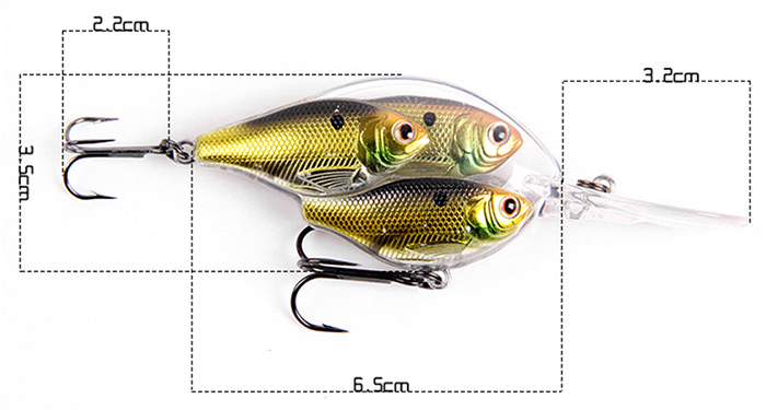ILURE Crank 6.5cm Long-tongue Fat Artificial Fishing Bait with Hook