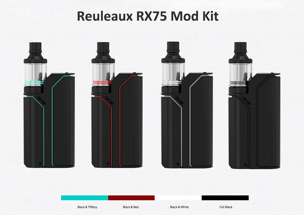 Original WISMEC Reuleaux RX75 Mod Kit with Hidden Fire Button TC 75W Box Mod / 2.0ml / 2pcs 0.2ohm Coil Head / Top Filling Amor Mini Tank Atomizer