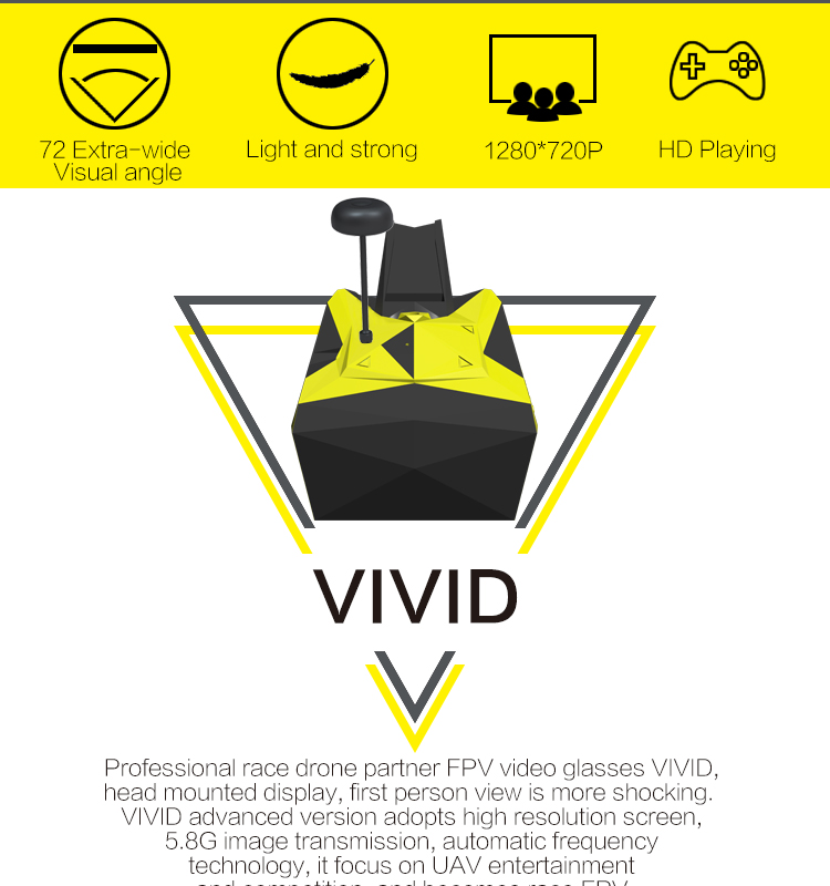 TOVSTO VIVID 5.8G FPV 1080P HD 32CH Head Mounted Display Video Glasses Automatic Frequency Control