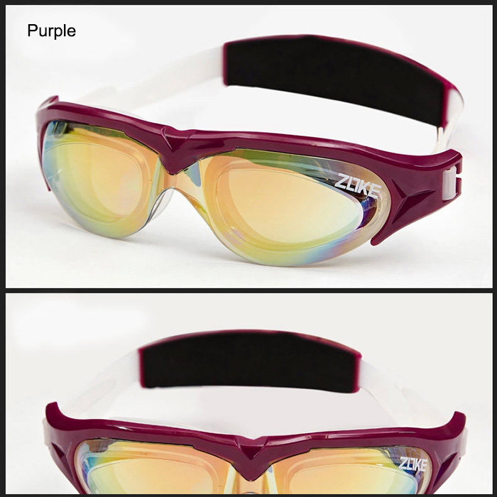 ZOKE Adults Plating Anti-fog Waterproof Swimming Glasses with Huge Frame