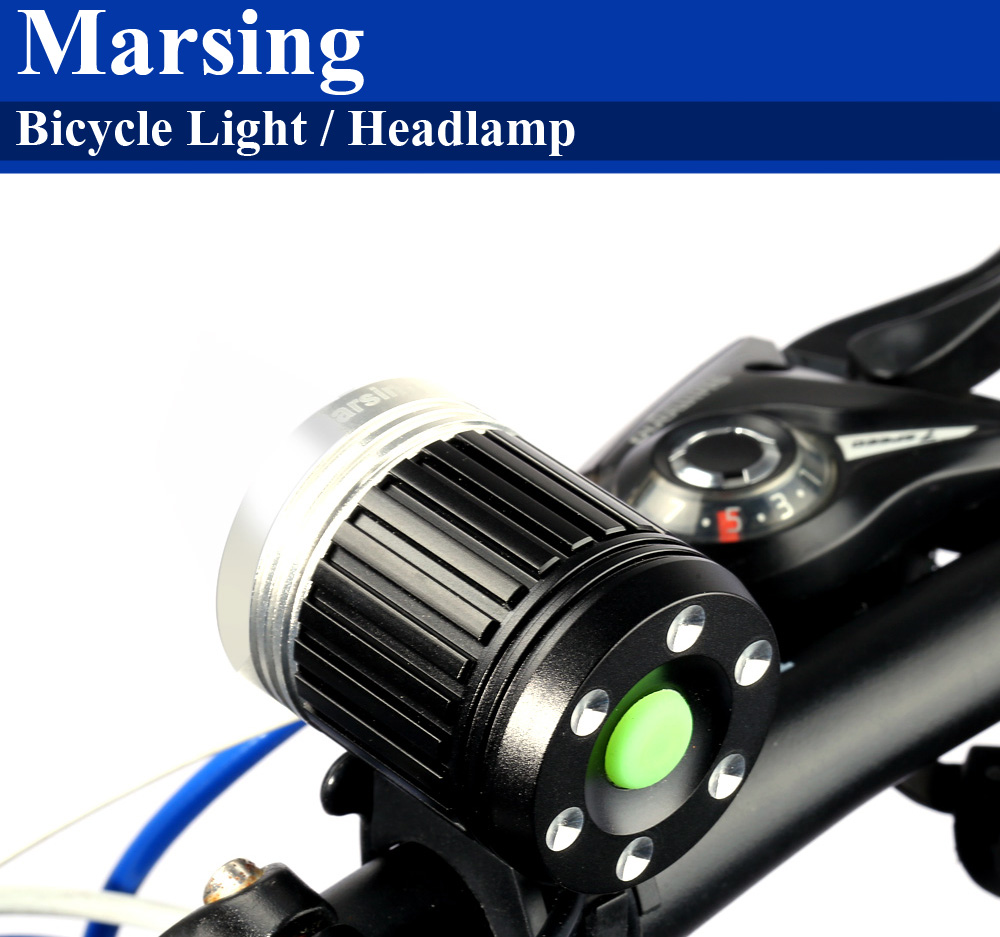 Marsing MS - 01 700Lm 3 Mode Cree XML T6 LED White Bicycle Light Headlamp Set for Night Cycling