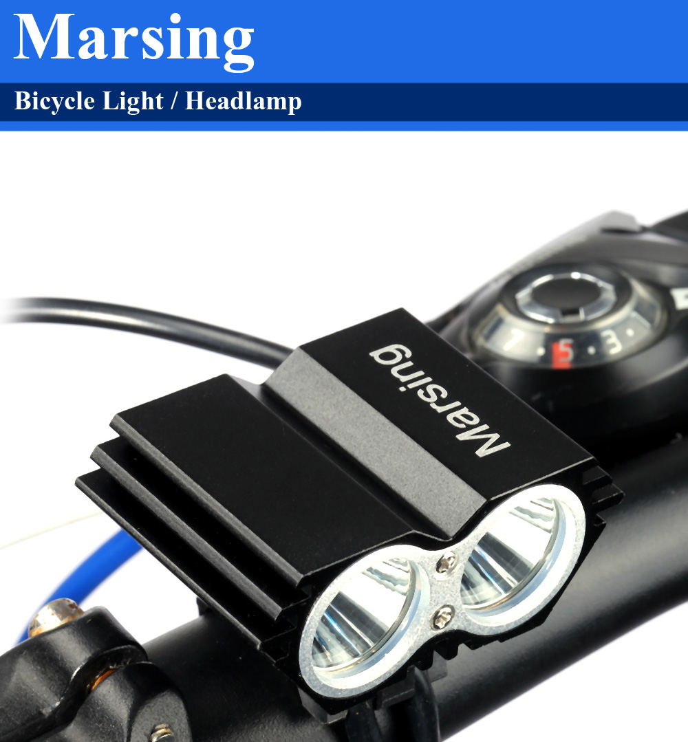 Marsing X2 2000Lm 4 Modes Cree XML T6 LED Bicycle Light Headlamp Set for Night Cycling