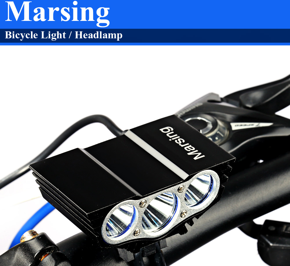 Marsing X3 2500Lm 3 Mode Cree XML T6 LED Bicycle Light Headlamp Set for Night Cycling