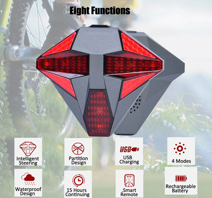 Wireless Remote Control USB Rechargeable LED Cycling Bike Tail Light