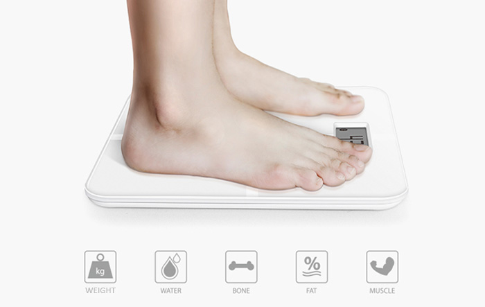 AirScale YHF1430 - WH1 Bluetooth 4.0 Smart Body Health Scale ITO Toughened Glass Digital Personal Weighing Tool