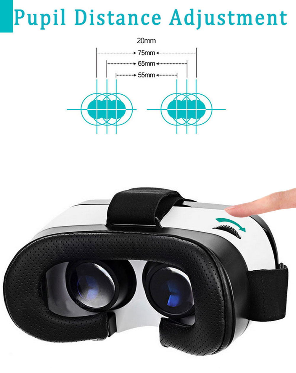 VR DAVI 3D Glasses Virtual Reality Headset Private Theater Game Video with Wireless Remote Controller for 4 - 6 inch Smartphone