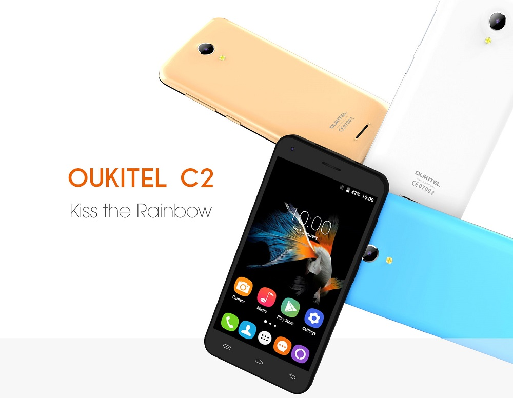 OUKITEL C2 4.5 inch Android 5.1 3G Smartphone MTK6580 Quad Core 1.3GHz 1GB RAM 8GB ROM Dual Cameras WiFi GPS OTA