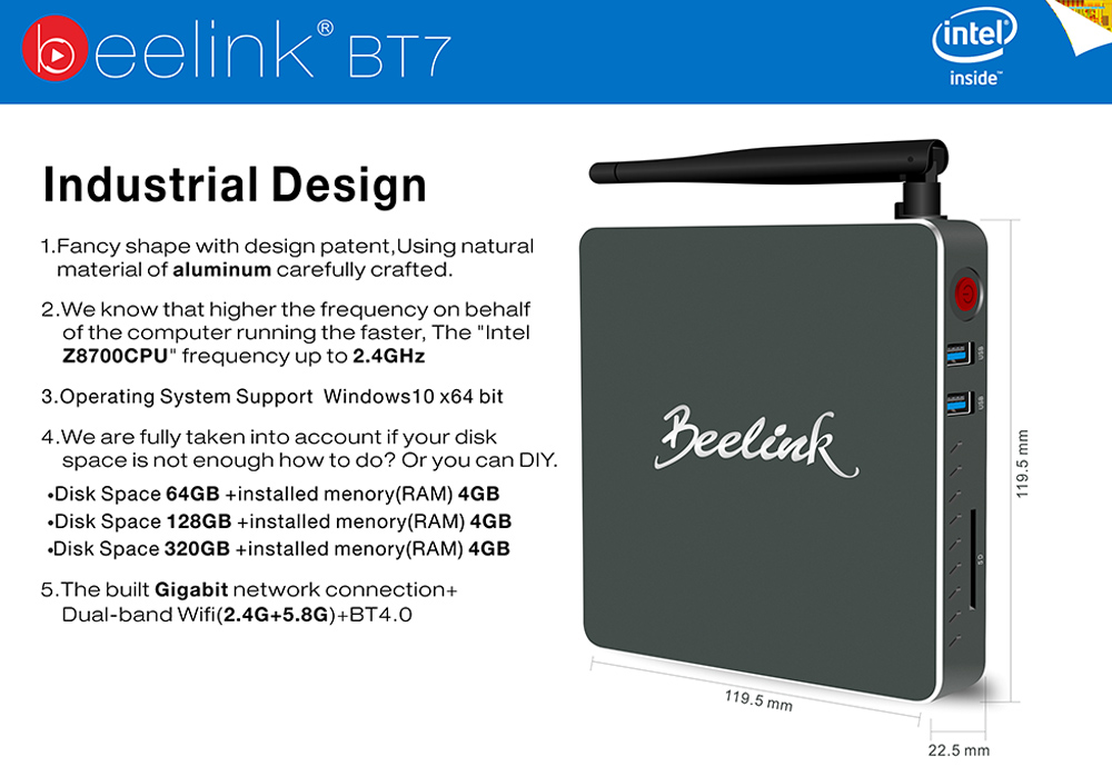 Beelink BT7 Mini PC Intel Atom X7-Z8700 Quad-core Windows 64bit Bluetooth 4.0 2.4GHz / 5.8GHz WiFi 4K Media Player