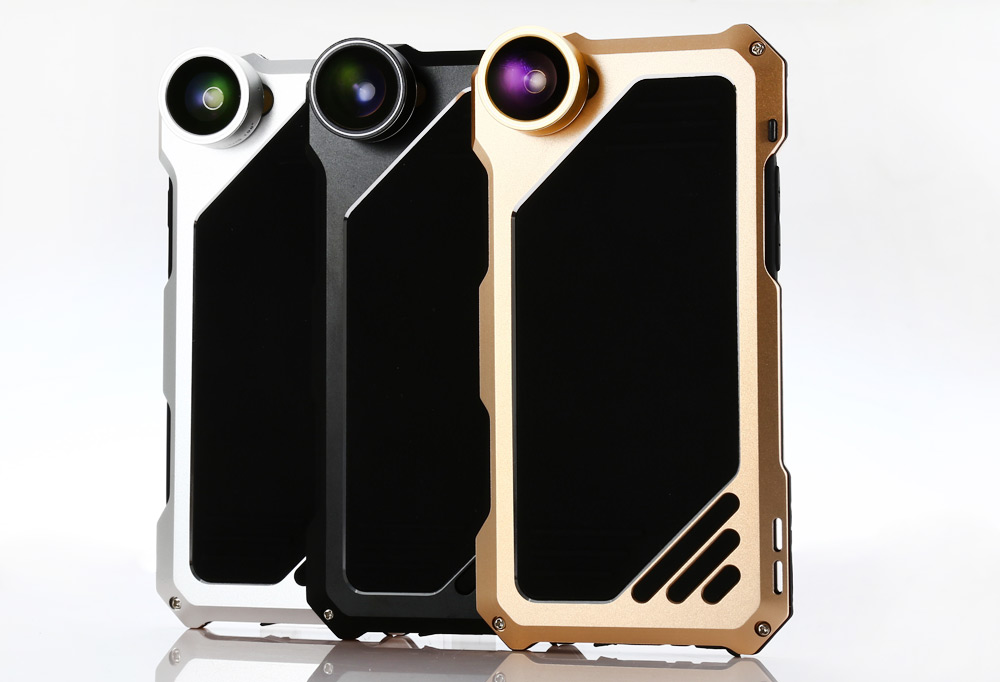 Full Body Protective Case Photography Lens Kit for iPhone 6 / 6S with 198 Degree Fish Eye Lens 0.63X Wide 15X Macro Lens
