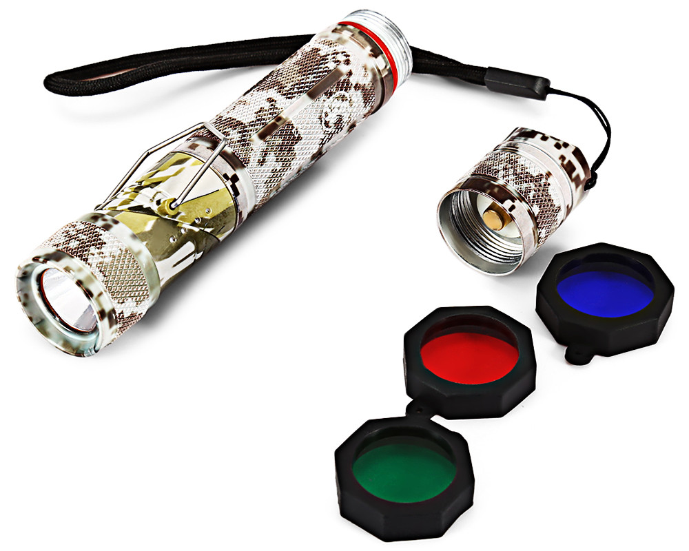 PANGE CREE XP - E 150Lm LED Flashlight with Red Blue Green Filters