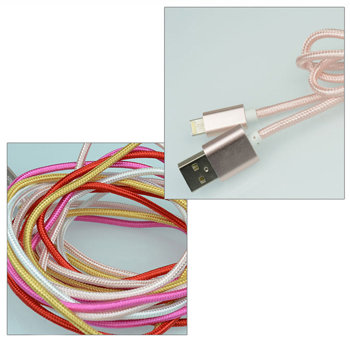 Universal 2 in 1 1m 8 Pin Micro USB Data Sync Charge Cable Nylon Braided Cord