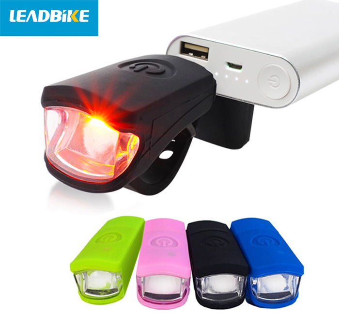 LEADBIKE A50 LED USB Charging Bike Front Light Silicone Cycling Flashlight