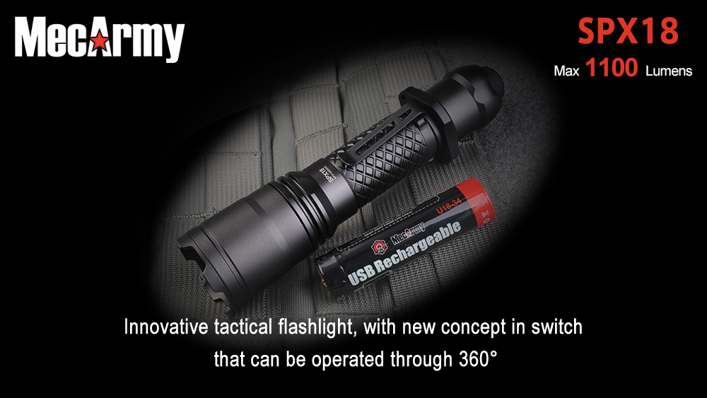 MecArmy SPX18 1100Lm Cree L2 U3 LED Flashlight + USB Rechargeable 18650 Battery