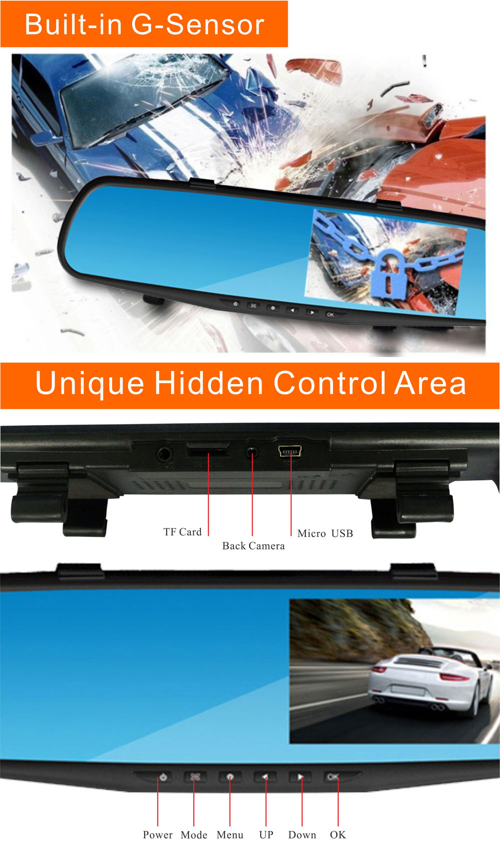 RM-LC2010 1080P Full HD 30W Pixel 170 Degree Wide Angle Car Rearview Mirror Back Camera Monitor DVR G-Sensor Loop Cycle Recording Parking Monitoring Motion Detection