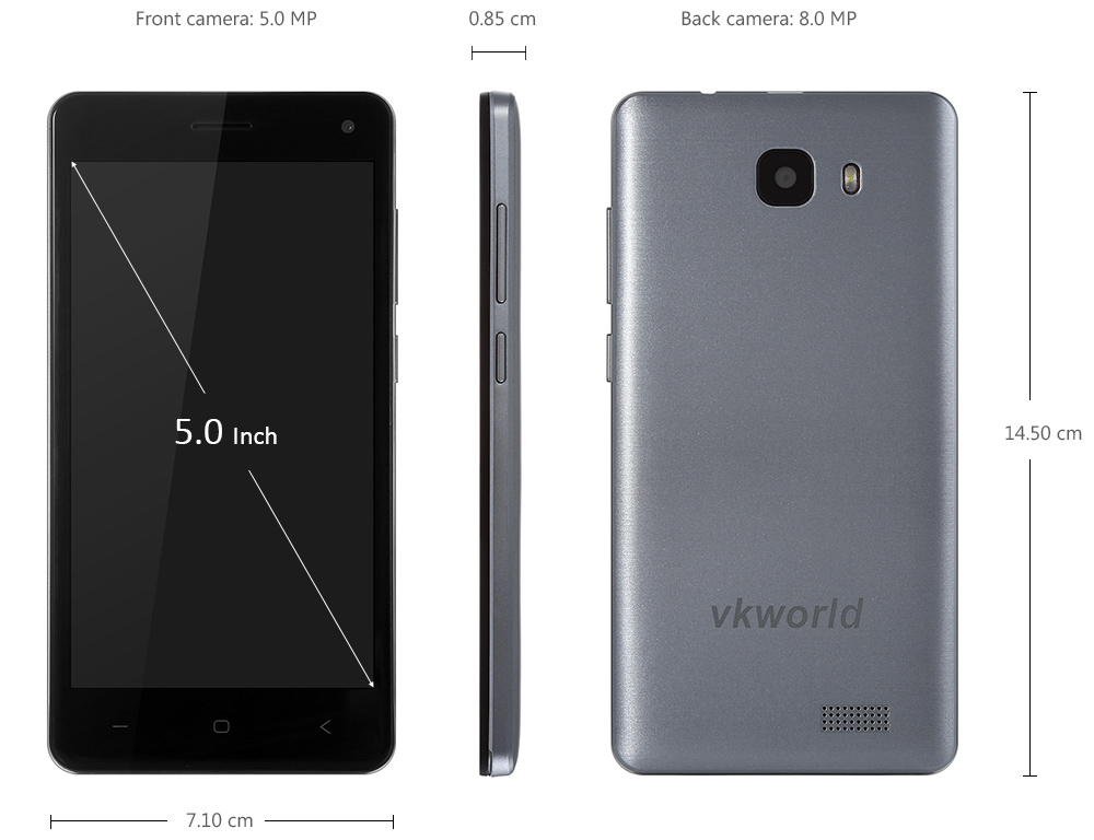 VKworld T5 5.0 inch Android 5.1 3G Smartphone MTK6580 Quad Core 1.3GHz 2GB RAM 16GB ROM Dual Cameras Bluetooth 4.0 Cameras GPS