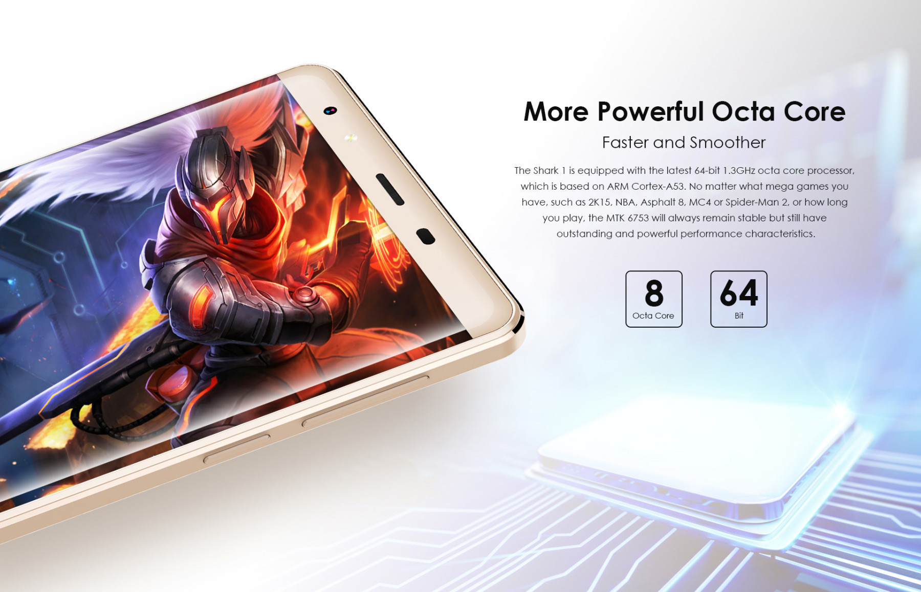 Leagoo Shark 1 6.0 inch 4G Phablet Android 5.1 MTK6753 64bit Octa Core 1.3GHz 3GB RAM 16GB ROM Fingerprint ID 13.0MP + 5.0MP Cameras 2.5D Corning Glass Gorilla Screen