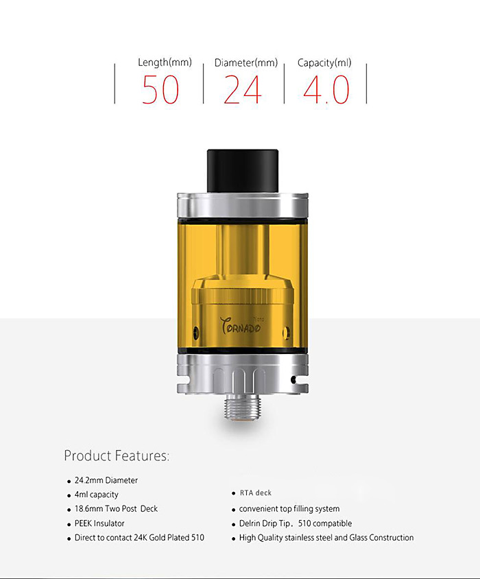 IJOY Tornado Nano 4ml E Cigarette Rebuildable Tank Atomizer with Color Change Glass Tank / Chip Coil System