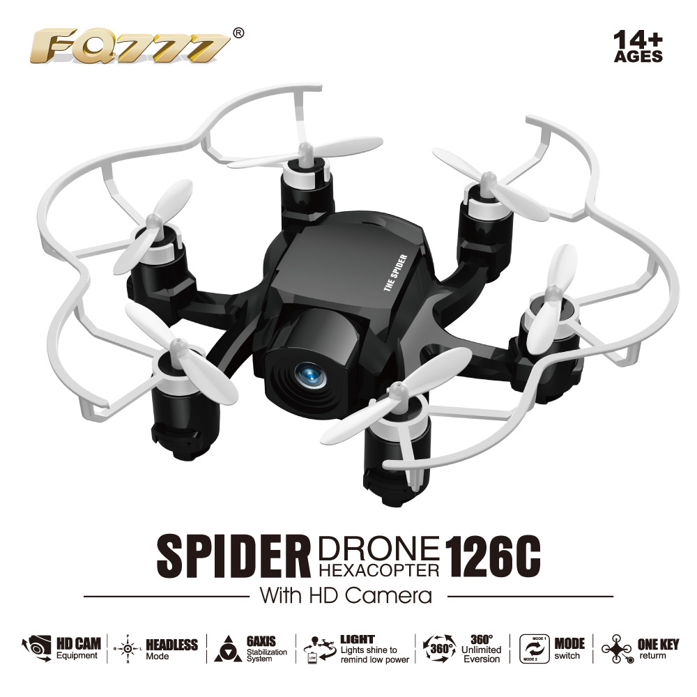 FQ777 126C Mini Spider Drone 2.4G RC Hexacopter 6 Axis Gyro 3D Roll One Key Return Dual Mode 4CH with HD Camera