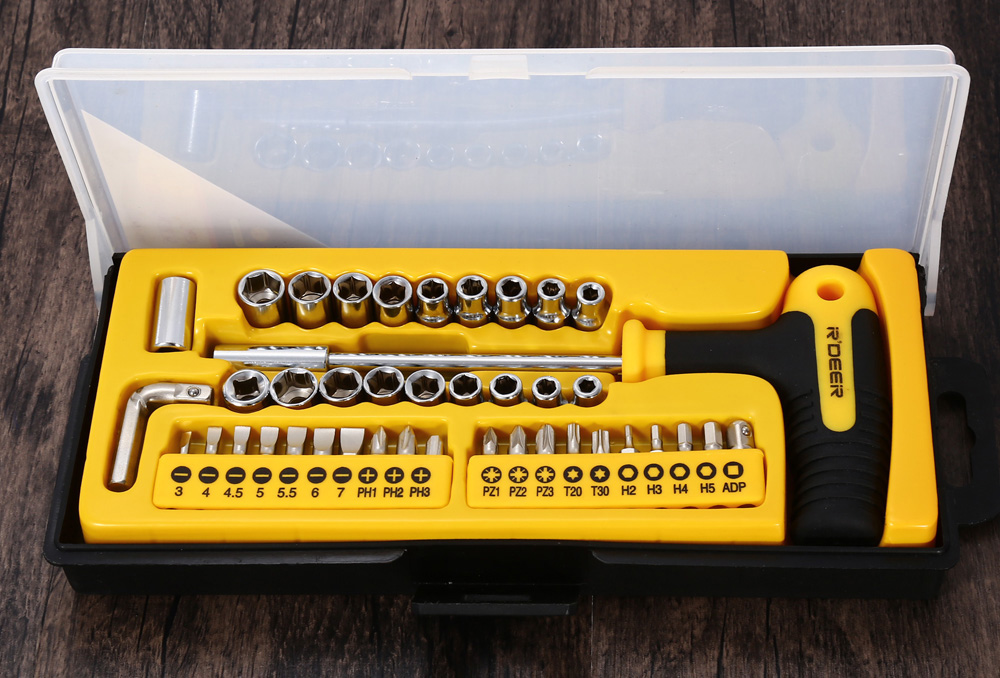 Robust Deer RT - 1643 43PCS T Style Multifunction Ratchet Socket Screwdriver Set Professional Hand Tool