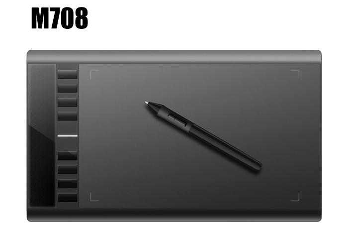 UGEE M708 10 x 6 inch Smart Graphics Tablet 5080 LPI Resolution P51 Drawing Pen for Digital Writing / Painting