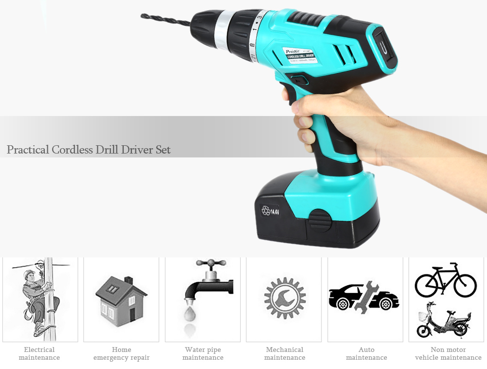 Proskit PT - 1441F 14.4V Cordless Electric Drill Repair Tool