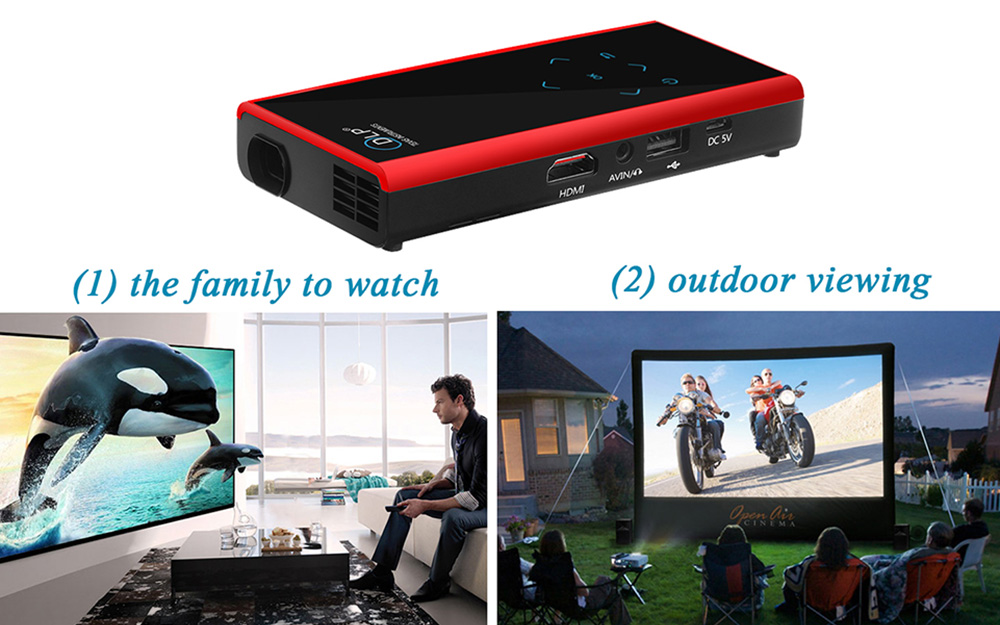 E06S 120 Lumens 854 x 480 Pixels Android4.4.2 DLP WiFi Bluetooth Projector Support HDMI AV USB Mini SD Card Slot for Home Theater Business - 1GB RAM 4GB ROM