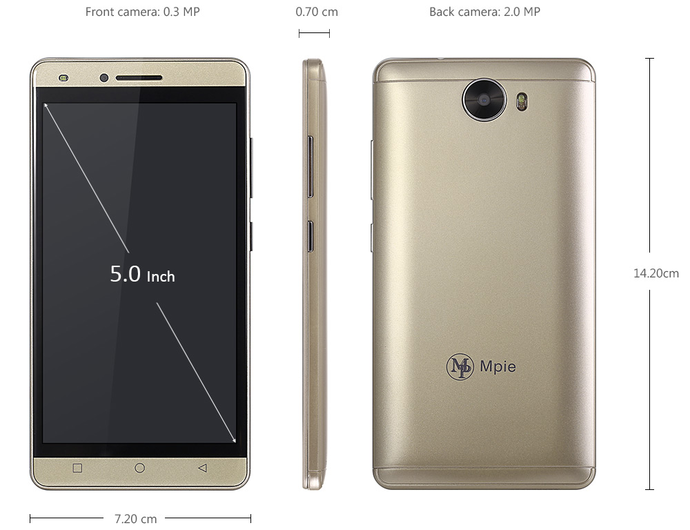 Mpie MG6 Android 5.1 5.0 inch 3G Smartphone MTK6580 1.3GHz Quad Core 512MB RAM 4GB ROM Gravity Sensor GPS