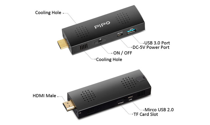 Pipo X1S Mini PC TV Stick Windows 10 32bit Quad Core Intel Cherry Trail Z8300 Streaming Media Player Support WiFi BT 4.0 Connectivity