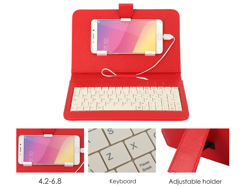 Universal Wire Connected Keyboard with PU Leather Cover Case Phone Holder for Android Mobiles