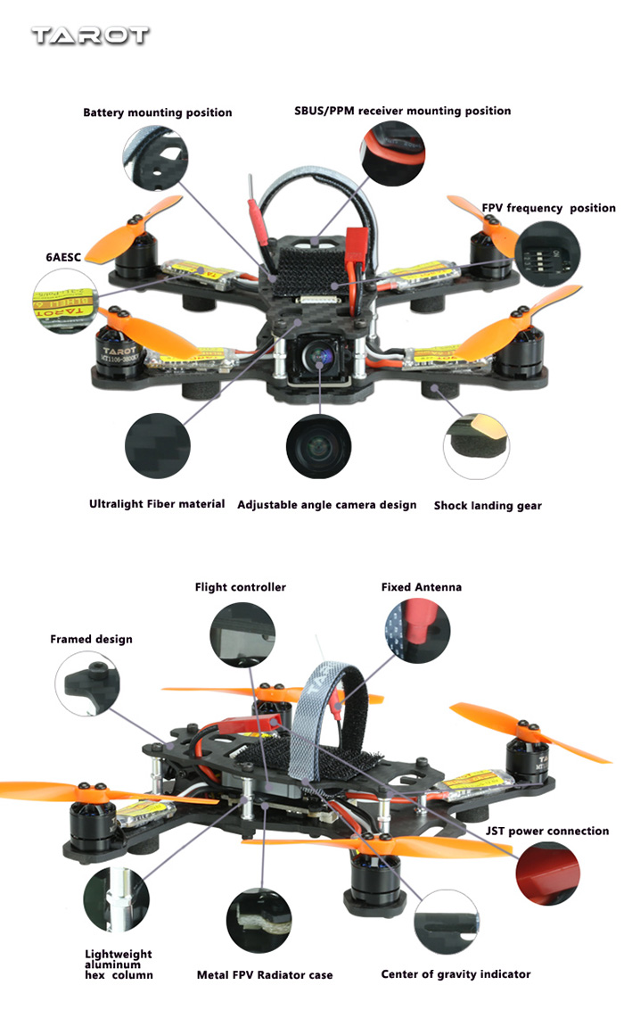 TAROT TL120H1 120 FPV 520TVL CAM 6 Axis Gyro Racing Quadcopter ARF Version