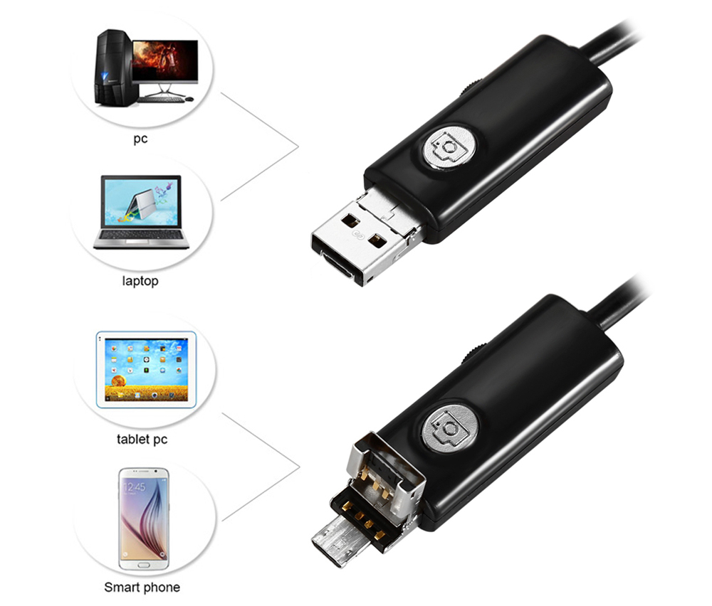 TS - E70 2 in 1 Android PC Endoscope 9mm Lens 2.0MP Inspection Wire Camera IP67 Waterproof 5m