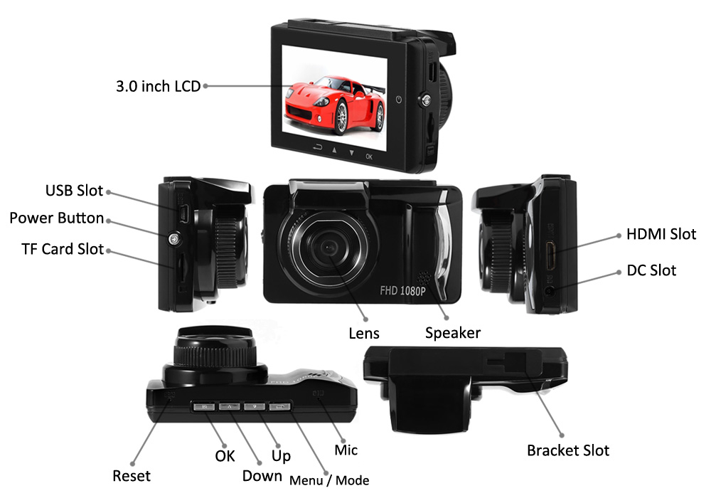 GT800 1080P Full HD 140 Degree Wide Angle 3.0 inch LCD Screen Car DVR Camera Recorder Motion Detection G-sensor