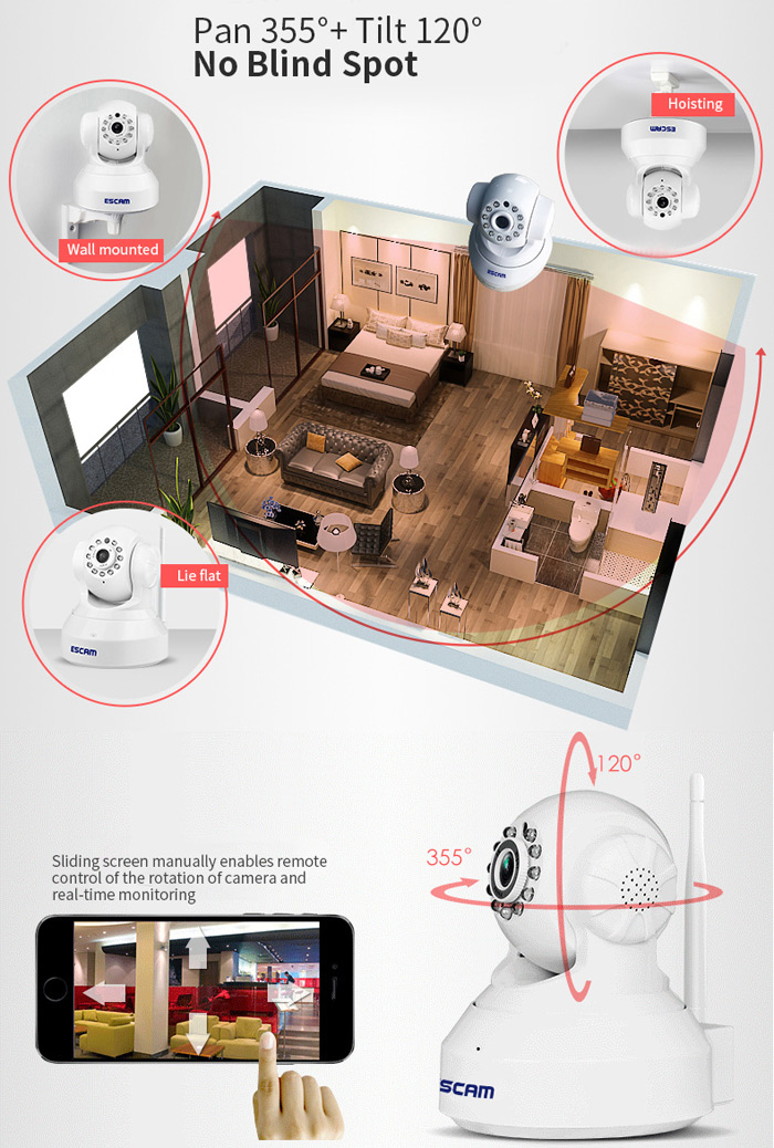 ESCAM QF001 IP Camera WIFI 720P P2P Night Vision Support Android IOS for Home Company