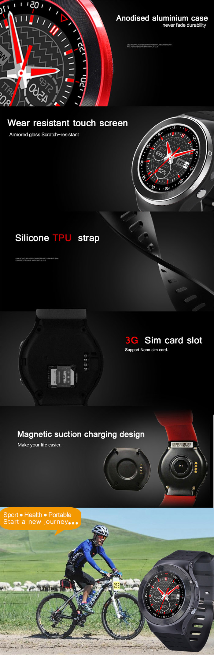 ZGPAX S99 Android 5.1 1.33 inch 3G Smartwatch Phone MTK6580 1.3GHz Quad Core 512MB RAM 8GB ROM Pedometer Bluetooth 4.0