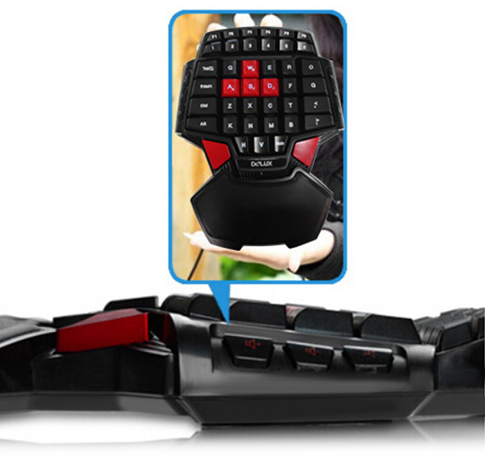 Delux T9 One-handed USB Wired Gaming Keyboard with LED Backlit Computer Parts