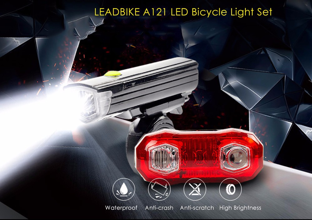 LEADBIKE A121 LED Bicycle Light Set Water Resistance Bike Front Flashlight Rear Lamp