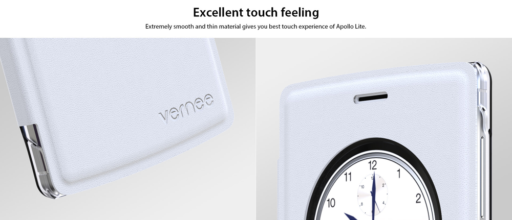 Original PU Leather Full Body Protective Case for Vernee Apollo Lite with View Window Smart Wake-up