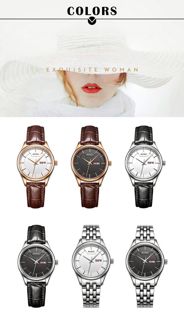 BUREI Simple Style Chinese English Day Date Lady Quartz Watch
