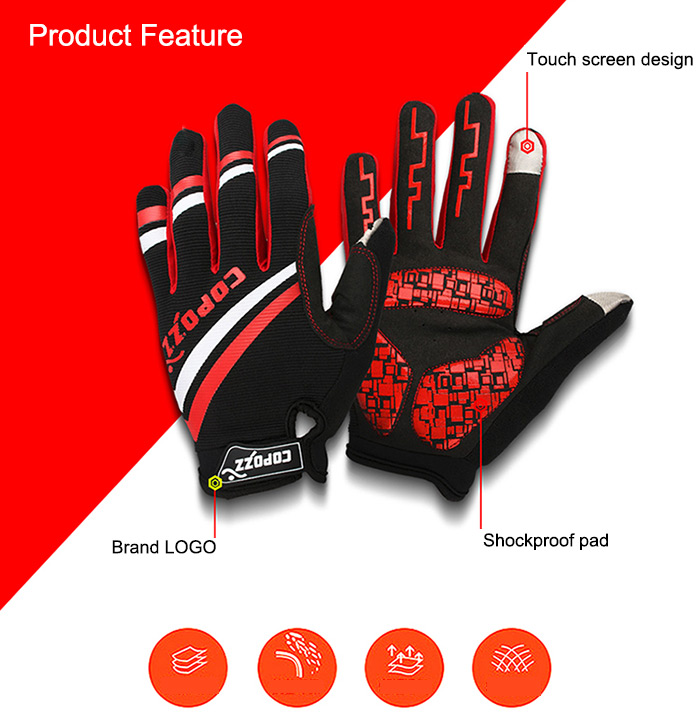 Copozz Breathable Shockproof Full Finger Cycling Gloves Bike Outdoor Sports