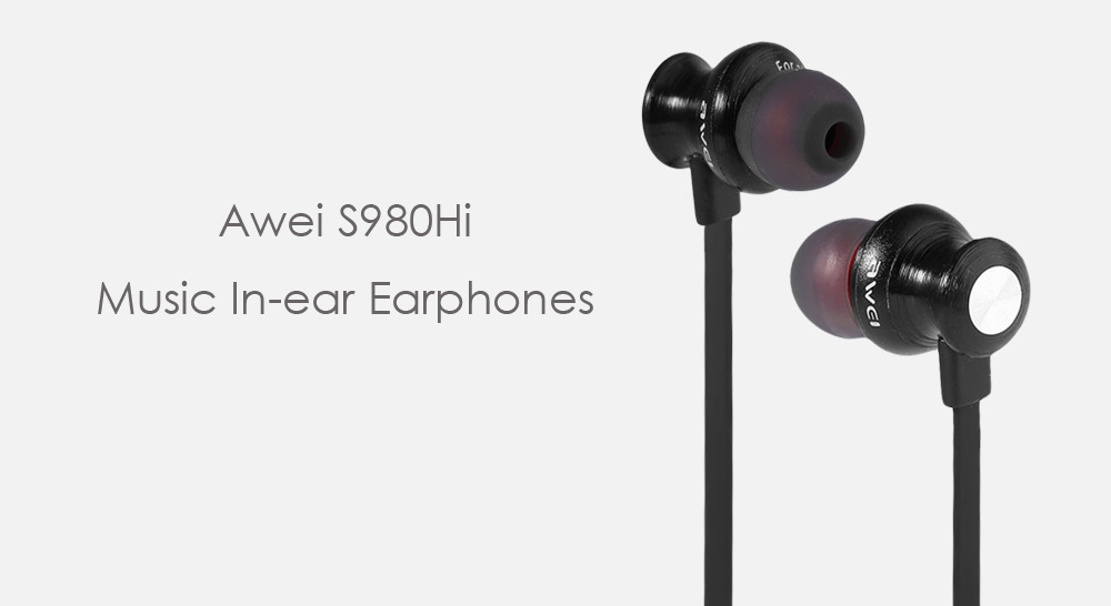 Awei S980Hi Noise Canceling In-ear Earphones with Mic Song Switch Volume Control