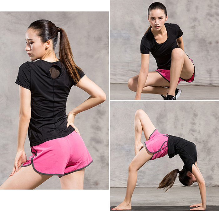 Female Quick-drying Fitness Yoga Short Sleeve T-shirt