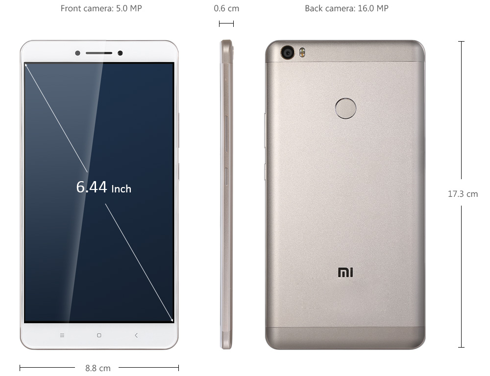 Xiaomi Mi Max 6.44 inch 4G Phablet Android 6.0 Qualcomm Snapdragon 650 64bit Hexa Core 1.8GHz Fingerprint Sensor 3GB RAM 32GB ROM 16.0MP + 5.0MP 4850mAh 2.5D Arc Glass Screen Infrared