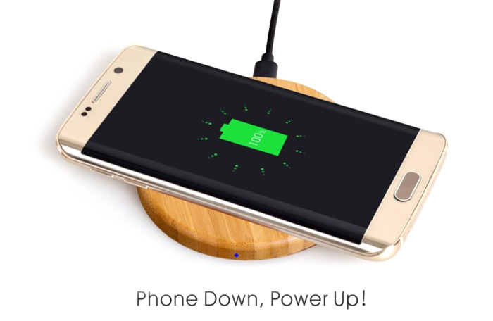 WT - 500 Qi Wireless Charger Transmitter Bamboo Made Pad Round Launcher with Indicator Light