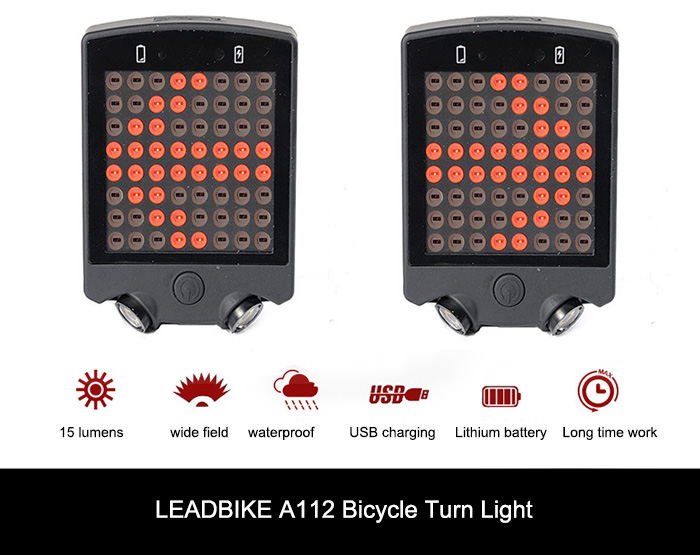 LEADBIKE A112 Wireless Remote Control USB Rechargeable Bicycle Turn Light